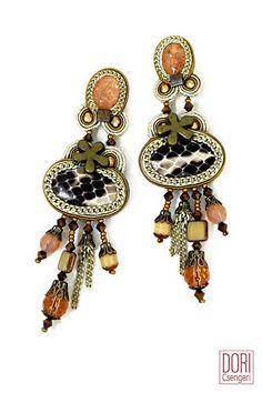 Desert Rose python earrings- trendy designer maker clip on earrings with embossed snakeskin. #doricsengeri #earrings #desert #rose #trendy #clip #embossedsnakskin