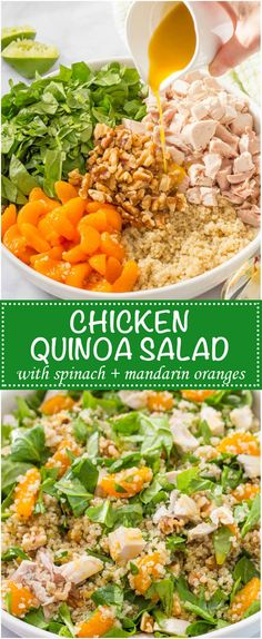 Chicken quinoa salad with spinach, mandarin oranges, walnuts and a honey-lime vinaigrette -- a flavorful main dish salad that's ready in just 20 minutes! | www.familyfoodont...