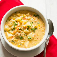 "touted as the ""most popular recipe in 2013"" on BEB's website: Chipotle Chicken and Corn Chowder 