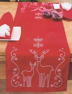 Deer and Snowflakes Table Runner - embroidery kit by Vervaco - - Deer and Snowflakes Table Runner – embroidery kit by Vervaco Needlecraft A bright red table runner stitched in white for your Christmas table or coffee table. Christmas Sewing, Christmas Embroidery, Christmas Cross, Christmas Diy, Christmas Quilting, Purple Christmas, Coastal Christmas, Christmas Images, Table Runner And Placemats