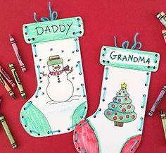 Free Printable Paper Stocking Craft for Kids | Such fun kids Christmas crafts.