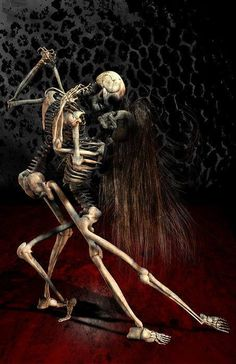 Have you ever danced with the devil in the pale moon light? poser 7 photo shop I give permission to *darkelements to submit and display this artwork death tango Skeleton Love, Skeleton Art, Skeleton Dance, La Danse Macabre, Macabre Art, Dark Love, Arte Obscura, Arte Horror, Grim Reaper