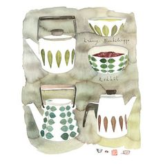 Retro housewares watercolor illustration Large by lucileskitchen, $30.00