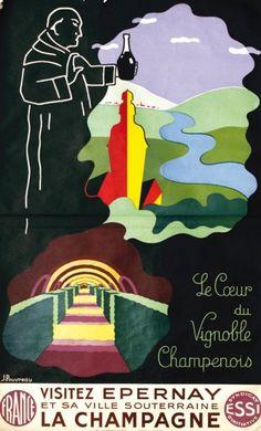 Visitez Epernay et sa ville souterraine - La Champagne - illustration de J. Pouvreau -