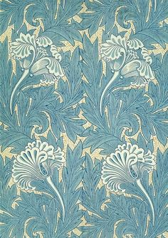 william morris wallpaper Large repeat of tulips and leaves against a background of delicate foliage William Morris Wallpaper, William Morris Art, Morris Wallpapers, Art Deco, Motifs Art Nouveau, William Morris Patterns, Motifs Textiles, Motif Floral, Arts And Crafts Movement