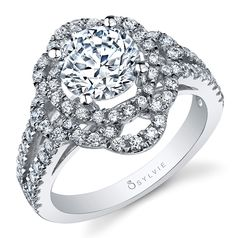 Sylvie's new double halo diamond engagement ring with a floral motif