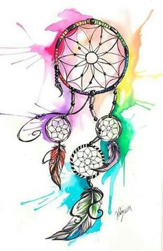 Rainbow watercolor dream catcher wallpaper