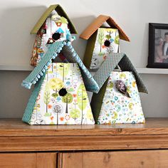 Sew up a set of fabric birdhouses to decorate the mantel and show off your favorite fabrics.
