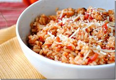 Cheesy Red Hot Rice:  4 servings; 138 calories, 2.7 g fat, 23.5 carbs, 4.7 g fiber, 5 g protein, 3 points+ per (1/2 cup) serving