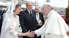 Pope Francis with the King of Spain, Juan Carlos, and Queen Sofia during the canonization of Pope John XXIII and Pope John Paul II  on April 27, 2014.
