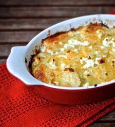 Goat cheese and spinach scalloped potatoes