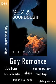 Sex & Sourdough by A.J. Thomas - contemporary gay romance books, mmromance #gayromancebooks #mmromance Slow Burn, Reading Challenge, Character Names, Romance Books, First Names, Burns, It Hurts, Road Trip, Gay