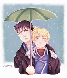 """Royai by kyattoi: """"Sir, I thought I reminded you to bring your own umbrella today."""" """"Yeah, well… I forgot. People forget things, Lieutenant."""" """"Some more frequently than others it seems."""""""