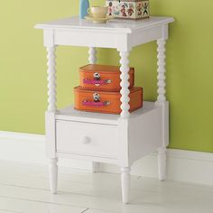 The Land of Nod | Kids Nightstands: Kids White Spindle Jenny Lind Nightstand in Nightstands