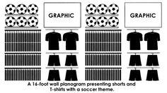 Wall planogram presenting shorts and t-shirts with a soccer theme.
