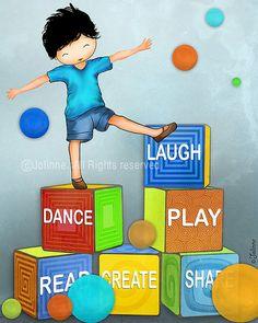 Boys room or playroom wall decor art  Laugh Dance Play by jolinne