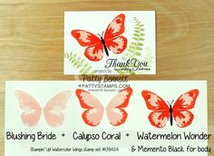 My personal favorite :)  Color combo suggestions for Watercolor Wings butterfly stamp set from Stampin' Up! for handstamped note cards.