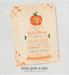 little pumpkin fall baby shower invitation  lil by misspokadot, $15.00