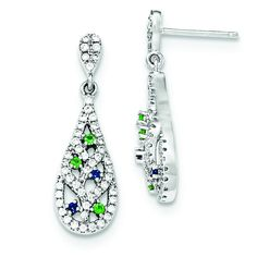 Sterling Silver Blue/Green/White CZ Post Earrings