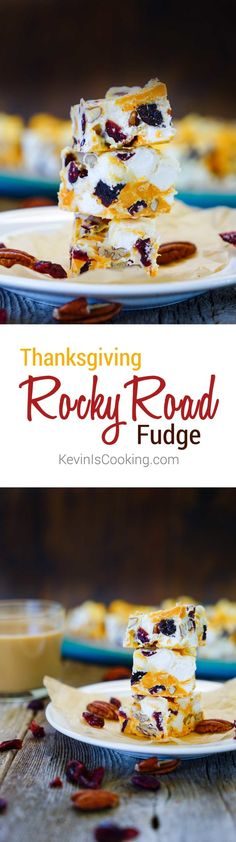 With all the different pumpkin recipes around I figured I'd put a little spin on a classic fudge. If you want to surprise your guests this Thanksgiving, how about serving up my Thanksgiving Rocky Road Fudge that has cranberries and pecans instead of the u