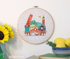 Pretty Little Italy - Modern Cross stitch embroidery pattern PDF - Instant download