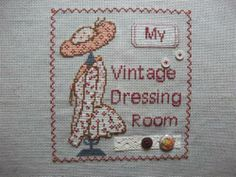 point de croix robe, chapeau, dressing-room - cross stitch woman's vintage dressing room