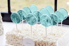 Winter wonderland party - aqua lollipops