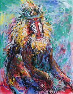 Mandrill Baboon 24x30 Acrylic