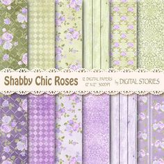 Shabby Chic Digital Paper: SHABBY LILAC GREEN by DigitalStories