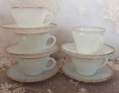Vintage Fire King White Swirl Gold Rim Coffee Cup and Saucer Sets by LakesideVintageShop on Etsy