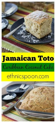 Simple ingredients come together to make a delicious cake. You are going to love making this easy kid friendly from scratch cake recipe that has tropical Caribbean. Jamaican Toto is a popular Caribbean coconut cake that is a simple and delicious spice cak Jamaican Desserts, Jamaican Dishes, Jamaican Recipes, Jamaican Coconut Cake Recipe, Jamaican Toto Recipe, Jamaican Cuisine, Jamaican Curry, Cupcake Recipes, Baking Recipes