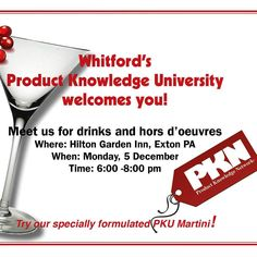 Fancy a PKU Martini cocktail ? We are hosting a welcome reception for the 2nd Product Knowledge University (PKU) today from 6:00 to 8:00 pm at @hiltongardeninn  Exton - PA . The PKU session starts tomorrow and it is a two day event where retailers will learn about coatings and how they relate to their products  from pricing to color. Attendees will see our labs and real live lab demos meet coating experts and speak with them one on one in a special break out session. Enjoy our PKU Martini…