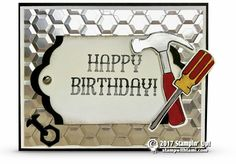 FAUX METAL CARD On today's video tutorial I'll share how to make this super cool faux metal background featuring the Stampin Up Urban Underground Suite in the Occasions catalog and some Silver Foil ca Masculine Birthday Cards, Birthday Cards For Men, Masculine Cards, Male Birthday, Stampin Up Cards, Men's Cards, Fathers Day Cards, Scrapbook Cards, Scrapbooking