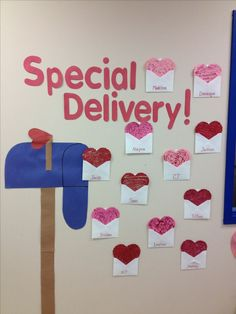 Decorating the classroom wall for Valentines