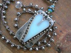 Soldered heart pendant on a crochet necklace  XO  Boho jewelry by 3DivasStudio, $80.00