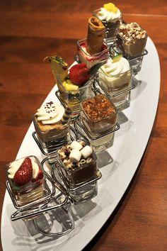 Mini indulgences - high impact flavor desserts in smaller portion sizes Fancy Desserts, Just Desserts, Delicious Desserts, Dessert Recipes, Yummy Food, Marketing Strategies, Marketing Ideas, Seasons 52, Bahama Breeze