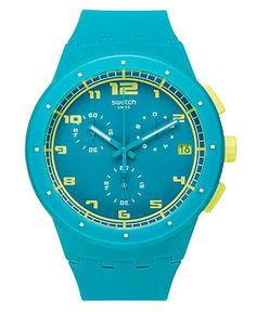 Swatch Watch, Unisex Swiss Chronograph Acid Drop Light Blue Silicone Strap 42mm SUSL400 - Watches - Jewelry & Watches - Macy's