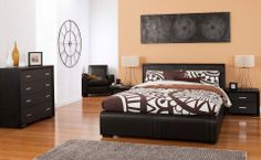Forty Winks Jericho dark modern wood and leather bedroom furniture suite with brown and white patterend linen and décor
