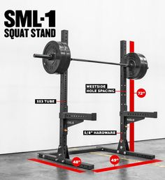 The Monster Lite Squat Stand delivers much of the strength and versatility of a power rack in an efficient, compact frame. See it at Rogue Fitness. Rogue Fitness, Garage Gym, Basement Gym, Crossfit Home Gym, At Home Gym, Home Gym Equipment, No Equipment Workout, Fitness Equipment, Squat Stands