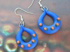 Handmade Blue Polymer Clay Earrings