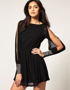 Asos Dress with Embellished Cuff Slit Sleeve - Lyst