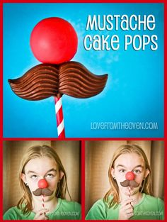 Mustache & Nose Cake Pops by Love From The Oven