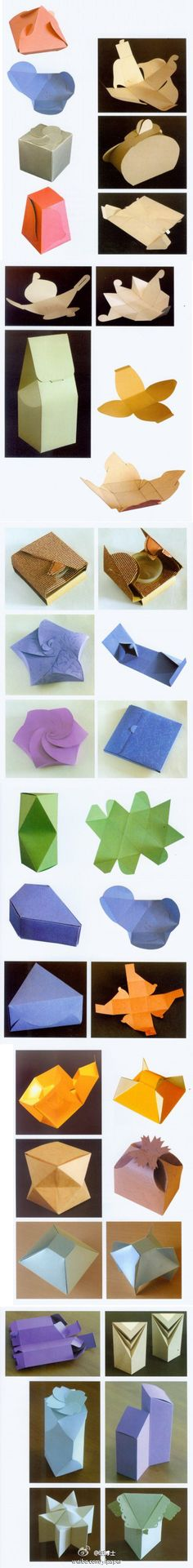 Paper boxes created with origami folds! Origami Paper, Diy Paper, Paper Art, Paper Crafts, Origami Boxes, Paper Box Template, Box Templates, Paper Gift Box, Paper Boxes
