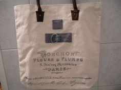 Einkaufstasche, Paris, neu /Shopping bag with Leather handle  Der Griff ist aus Leder. 43X43 cm