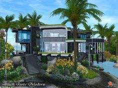 Black Jaree Modern house by Autaki - Sims 3 Downloads CC Caboodle
