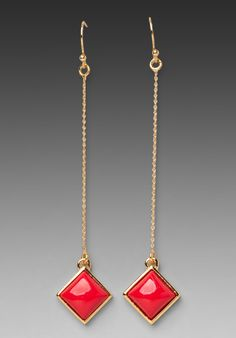 Trina Turk Resin Square Drop Earrings in Gold/Red