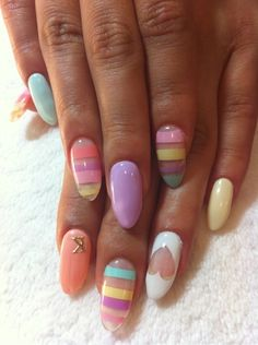 Nails, Nail Art, Nail Design, Manicure, Acrylic Nails, Long Nails, Almond Nails, Heart, Cut Out, Nail Decal, K, Initial, Stripes, Pastel, Blue, Pink, Peach, Coral, Lavender, Purple, Lilac,Yellow, White, Spring, Easter
