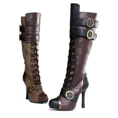 "Amazon.com: ELLIE 420-QUINLEY 4"" Knee High Steampunk Boot With Laces Women: Shoes"