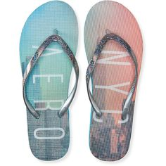 Aero NYC Skyline Flip-Flop ($4.87) ❤ liked on Polyvore featuring shoes, sandals, flip flops, silver, slip on shoes, bright shoes, aéropostale, aeropostale sandals and pull on shoes