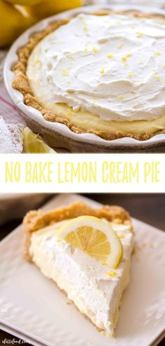 easy No Bake Lemon Cream Pie recipe is a lemon dessert lover's dream. This creamy lemon pie begins with a homemade vanilla wafer and golden oreo crust, is filled with a no bake lemon pie filling and topped with homemade lemon whipped cream. Lemon Desserts, Köstliche Desserts, Great Desserts, Delicious Desserts, Dessert Recipes, Dinner Recipes, No Bake Lemon Pie, Lemon Pie Recipe, Lemon Recipes